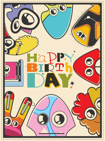 dude: Happy birthday gift card with cute color monsters. Cartoon illustration. Invitation postcard