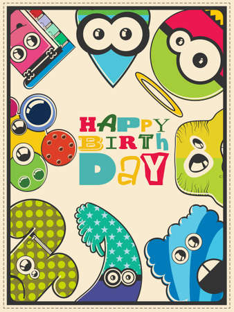 funny robot: Happy birthday gift card with cute color monsters. Cartoon illustration. Invitation postcard