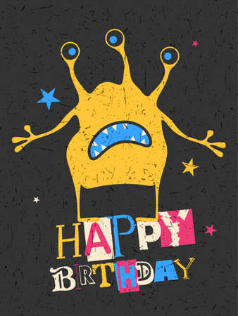 funny robot: Happy birthday gift card with cute color monster. Cartoon illustration. Invitation postcard