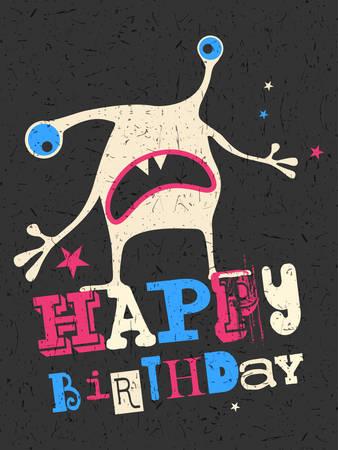 bacteria cartoon: Happy birthday gift card with cute color monster. Cartoon illustration. Invitation postcard