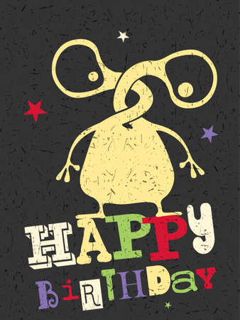 dude: Happy birthday gift card with cute color monster. Cartoon illustration. Invitation postcard