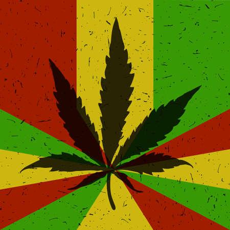 Cannabis leaf on grunge rastafarian flag.
