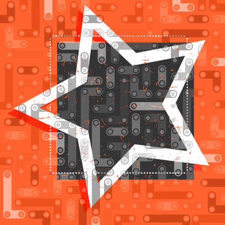 黒とオレンジのフレームに星を白します。  イラスト・ベクター素材