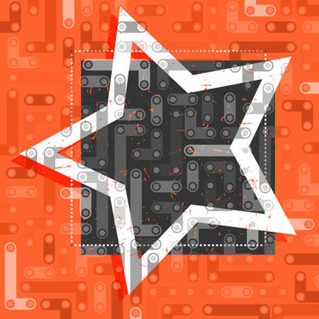White star on black and orange frame. Ilustração