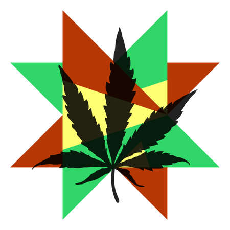 Cannabis leaf on color star Illustration