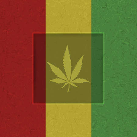 sativa: Cannabis leaf in white frame and grunge shapes on rastafarian flag.