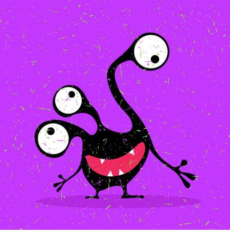 funny robot: Cute black monster with emotions on grunge purple background. cartoon illustration. Illustration