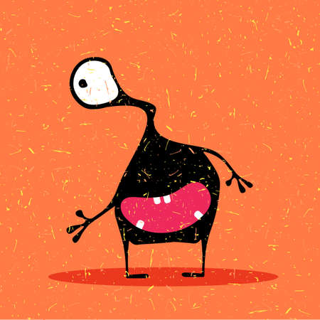 Cute black monster with emotions on grunge orange background. cartoon illustration.