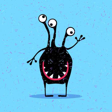 foots: Cute black monster with emotions on grunge blue background. cartoon illustration. Illustration