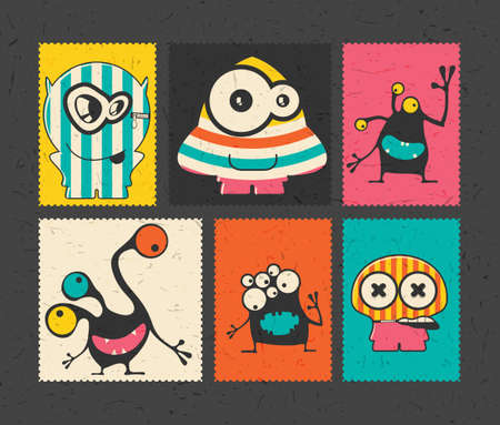 funny robot: Set of six retro postage`s stamp with funny monsters on different color background. Cartoon illustration. vector stickers