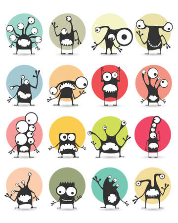funny robot: Set of sixteen color stickers with cute monsters. Cartoon illustration. Vector set