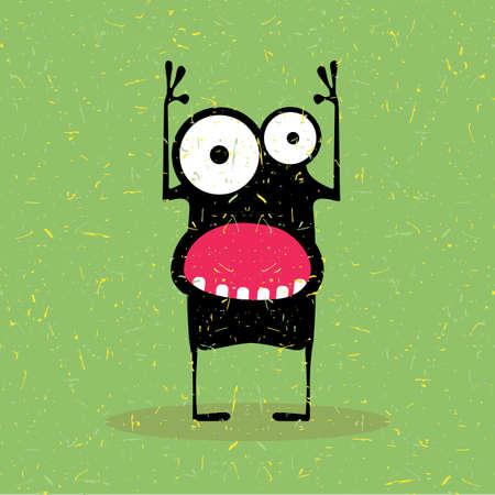 funny robot: Cute black monster with emotions on grunge green background. cartoon illustration. Illustration