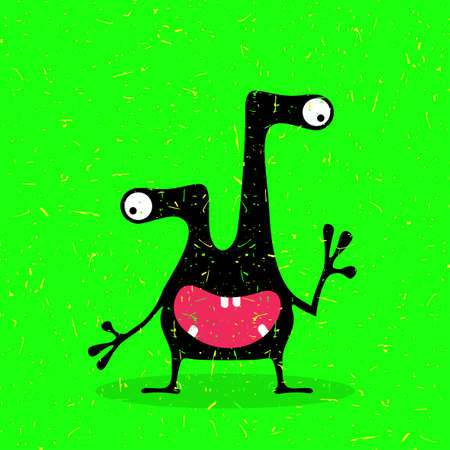 Cute black monster with emotions on grunge green background. cartoon illustration. Illustration