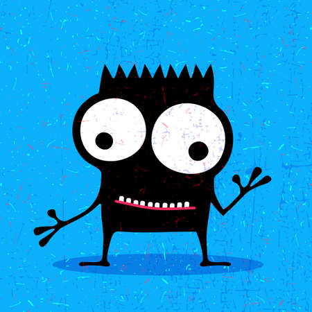 cute ghost: Cute black monster with emotions on grunge blue background. cartoon illustration. Illustration