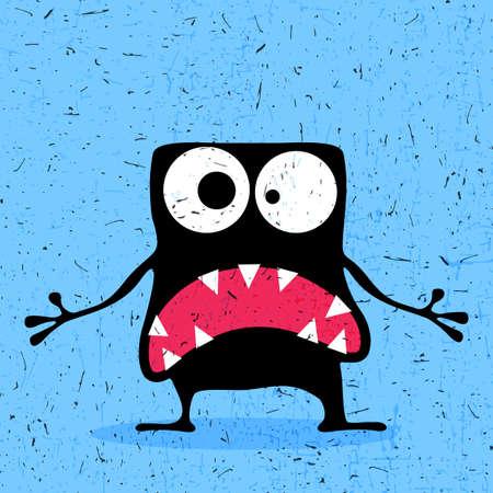 monstruo negro lindo con las emociones sobre fondo azul grunge. ilustración de dibujos animados.