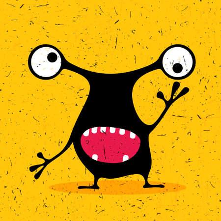 monstruo negro lindo con las emociones en el grunge fondo amarillo. ilustración de dibujos animados. Vectores