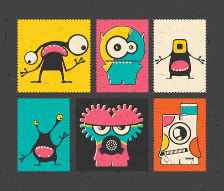 bacteria cartoon: Set of six retro postage`s stamp with funny monsters on different color background. Cartoon illustration. vector stickers