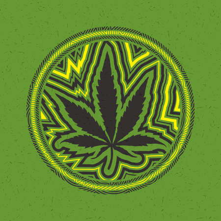 Black cannabis leaf in circle with color strips on green grunge background