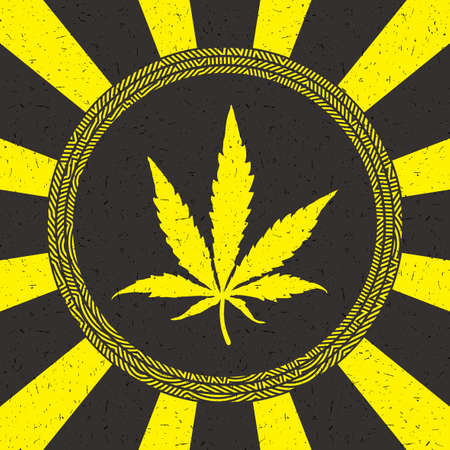 Yellow cannabis leaf in circle with strips on black grunge background