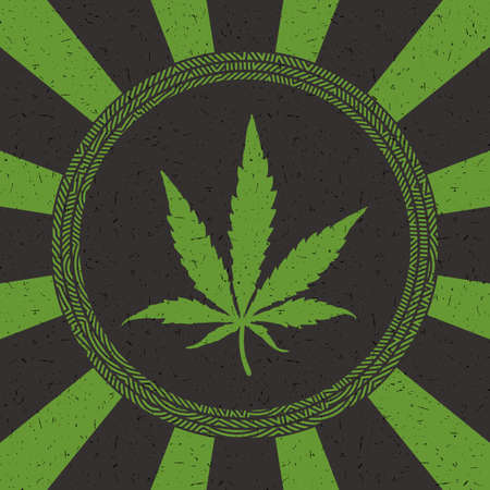 Green cannabis leaf in circle with strips on black grunge background