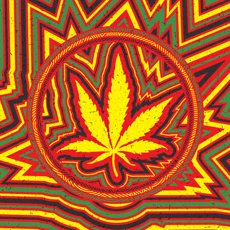 Yellow cannabis leaf in circle and color strips with grunge shapes