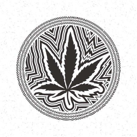 vibrations: Black cannabis leaf in circle with strips isolated on white grunge background