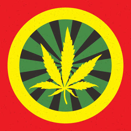 Yellow cannabis leaf in circle with color strips isolated on red grunge background Illustration