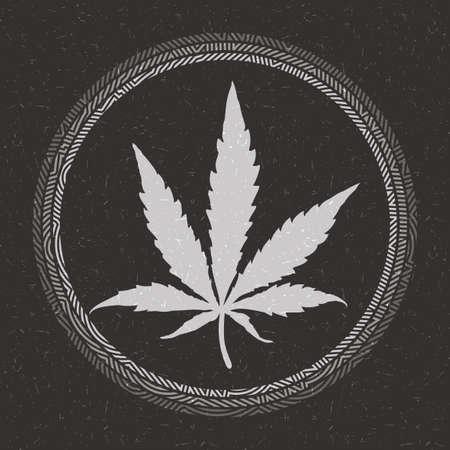 Black cannabis leaf in circle on grunge black background Illustration