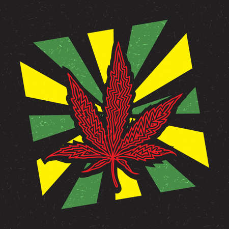 Red cannabis leaf inside yellow and green strips on grunge black background Illustration