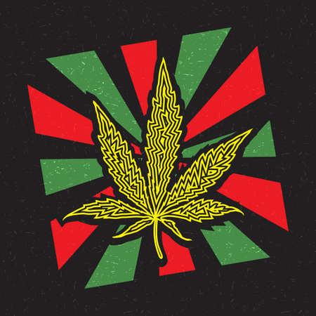 Yellow cannabis leaf inside red and green strips on grunge black background