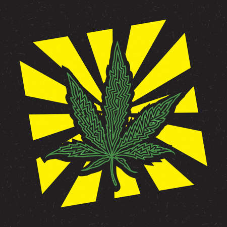 Green cannabis leaf inside yellow strips on grunge black background