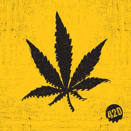 Black cannabis leaf on yellow grunge Illustration