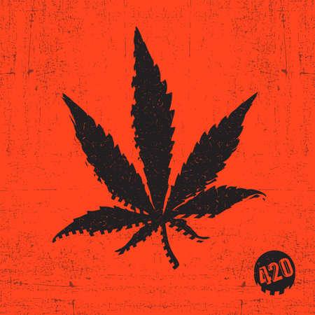 Black cannabis leaf on red grunge Illustration
