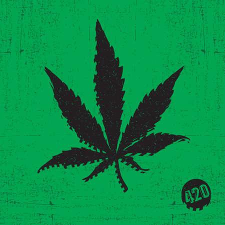 Black cannabis leaf on green grunge