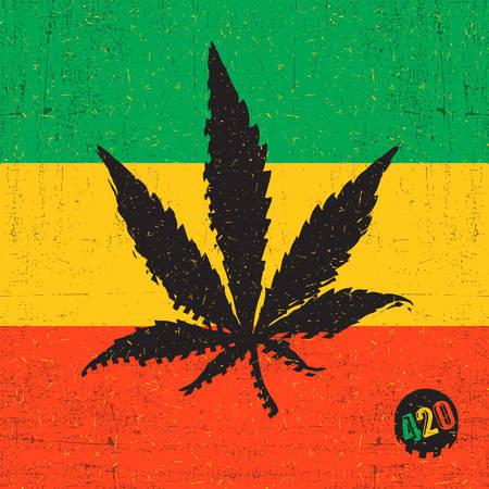 legalize: Black cannabis leaf on rastafarian flag with grunge shapes Illustration