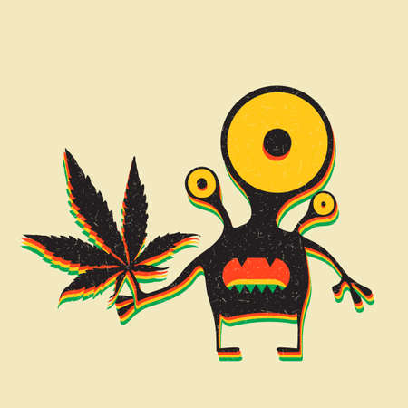 sativa: Cute monster with marijuana leaf on grunge yellow