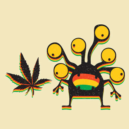 Cute monster with marijuana leaf on grunge yellow