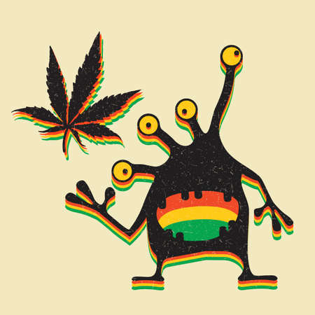 sativa: Cute monster with marijuana leaf on grunge yellow background.