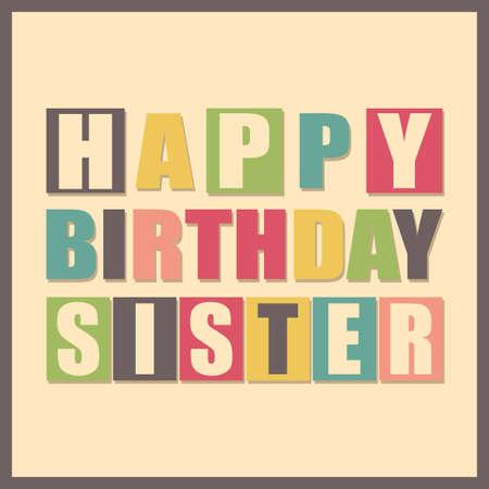 다채로운 인사말 카드입니다. 갈색 프레임에 그런 지 셰이프와 노란색 배경에 행복 한 생일 자매. 스티커, 레트로 선물 포스터. 벡터 일러스트 레이 션