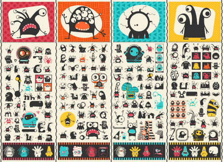 Big set of Cute monsters. Colorful characters stickers. Poster with funny humanoids. Cartoon illustration for different use. Ilustracja