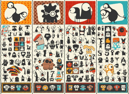 Conjunto grande de monstruos lindos. Etiquetas engomadas coloridas de los caracteres. Cartel con humanoides divertidos. Ilustración de dibujos animados para diferentes usos. Foto de archivo - 81765314