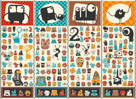 Big set of Cute monsters. Colorful characters stickers. Poster with funny humanoids. Cartoon illustration for different use. Vectores