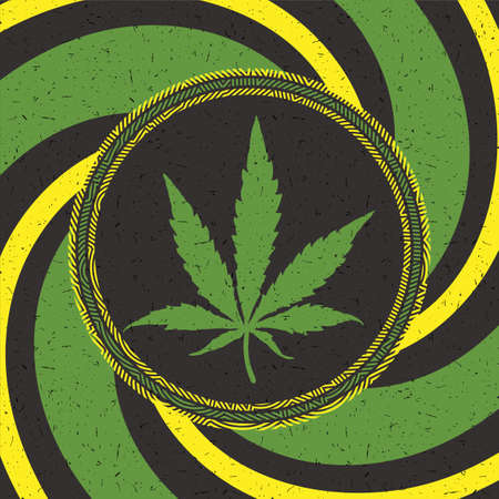 Green cannabis leaf in black circle with strips on grunge background