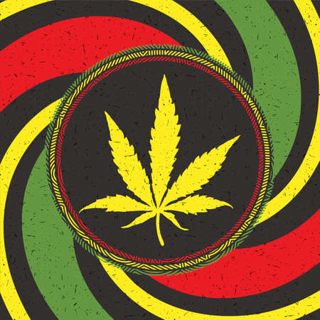 Yelllow cannabis leaf in black circle with strips on rastafarian grunge background