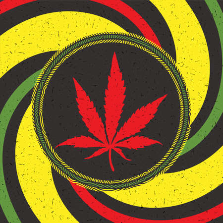Red cannabis leaf in black circle with strips on rastafarian grunge background