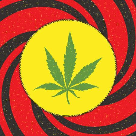 Green cannabis leaf in yellow circle with strips on red grunge background
