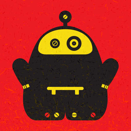 Cute colorful monster on red grunge background. Poster with funny robot. Retro sticker. Cartoon illustration