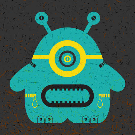 funny robot: Cute colorful monster on black grunge background. Poster with funny robot. Retro sticker. Cartoon illustration