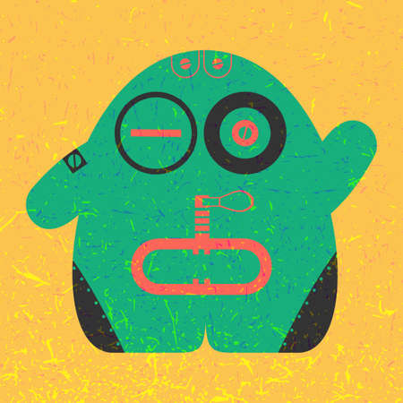 Cute colorful monster on yellow grunge background. Poster with funny robot. Retro sticker. Cartoon illustration Illustration