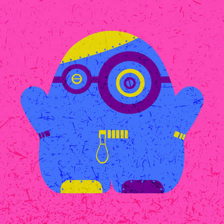 Cute colorful monster on pink grunge background. Poster with funny robot. Retro sticker. Cartoon illustration Illustration